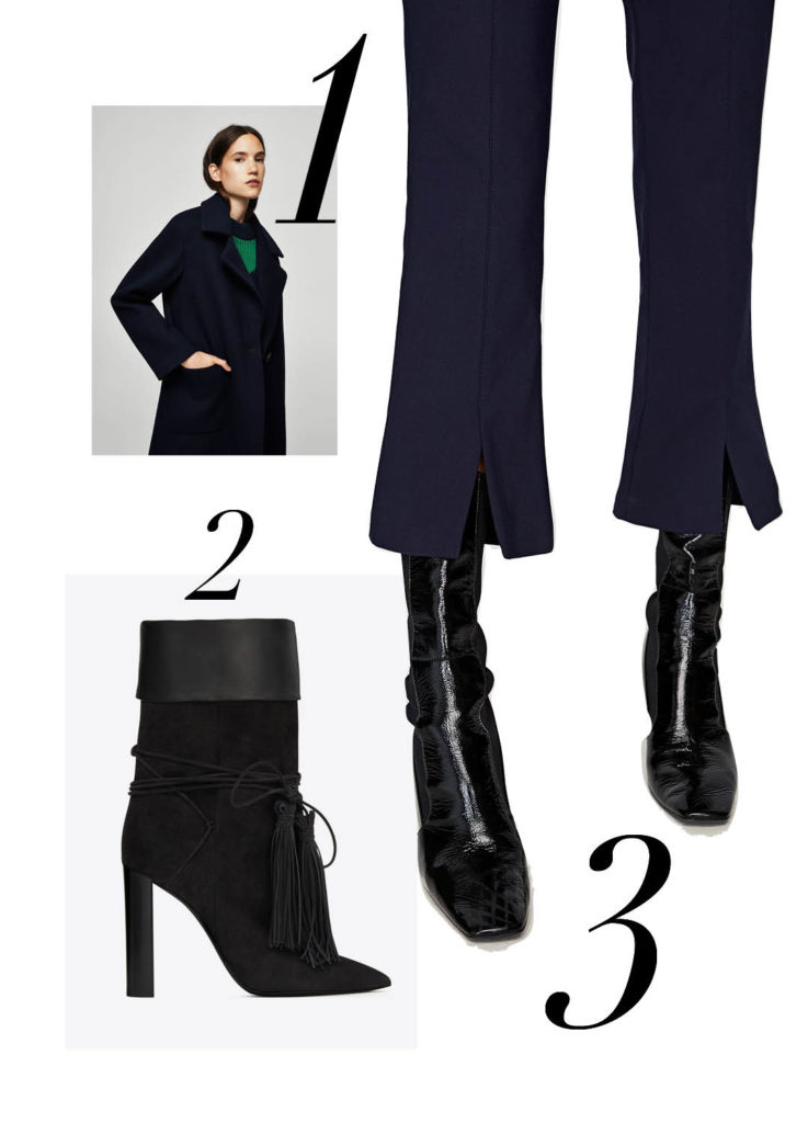 Mango Navy Wool Coat Ankle Boots by Saint Laurent Zara Cropped Trousers Suede Ankle Boots by Isabel Marant