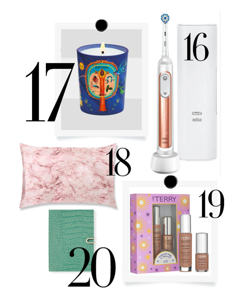 Luxury christmas gift guide. Diptyque candles, Oral-b rose gold, silk pillowcase, smythson diary, by terry skincare.