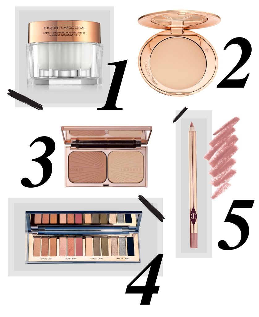 top charlotte tilbury picks for party makeup. Magic cream, airbrush flawless powder, filmstar, pillow talk, starry eyes to hypnotise.